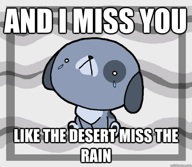 And I Miss You Like The Desert Miss The Rain Miss You Quickmeme