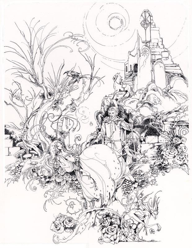 Dibujo Para Colorear Relajante Princesas La Bella Durmiente Del