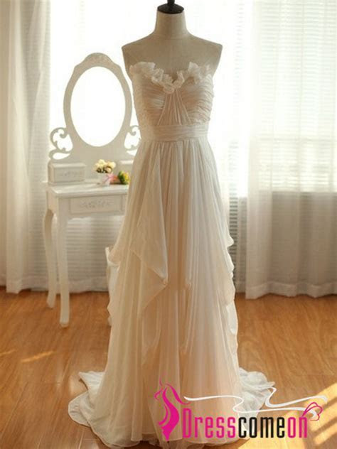 Cheap High Low Wedding Dress,Custom Ivory Chiffon Beach