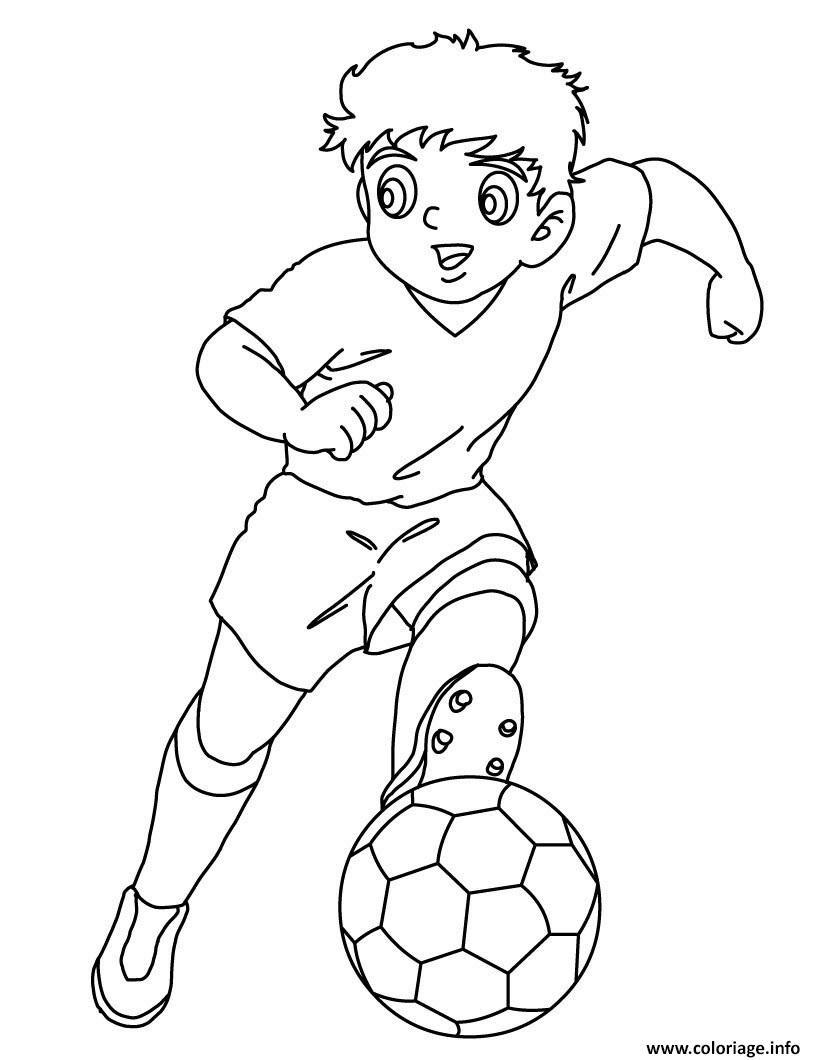 Dessin captain tsubasa manga foot tom et olivier Coloriage Gratuit  Imprimer