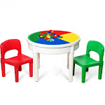 3-in-1 Kids Activity Table and 2 Chairs Set Includes 300 Bricks | Costway