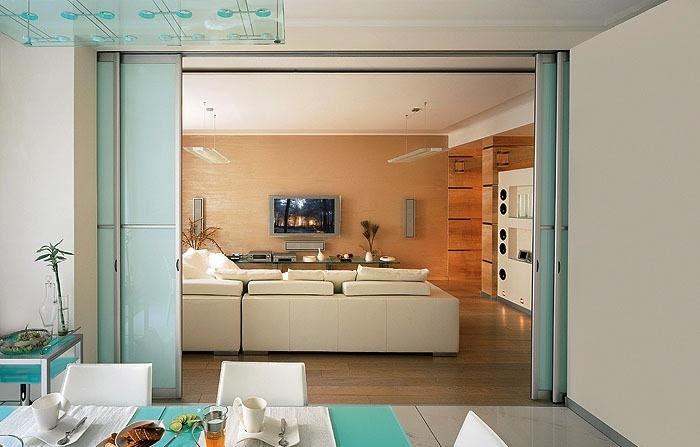 White turquoise living room diner
