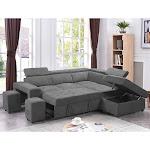 Copper Grove Ajibade Woven Fabric Sleeper Sectional Sofa (Light Grey)