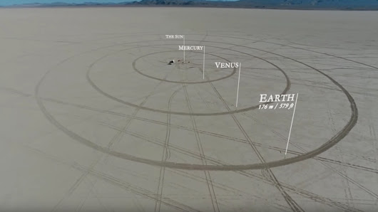 Earth is a marble in this scale model solar system in the desert