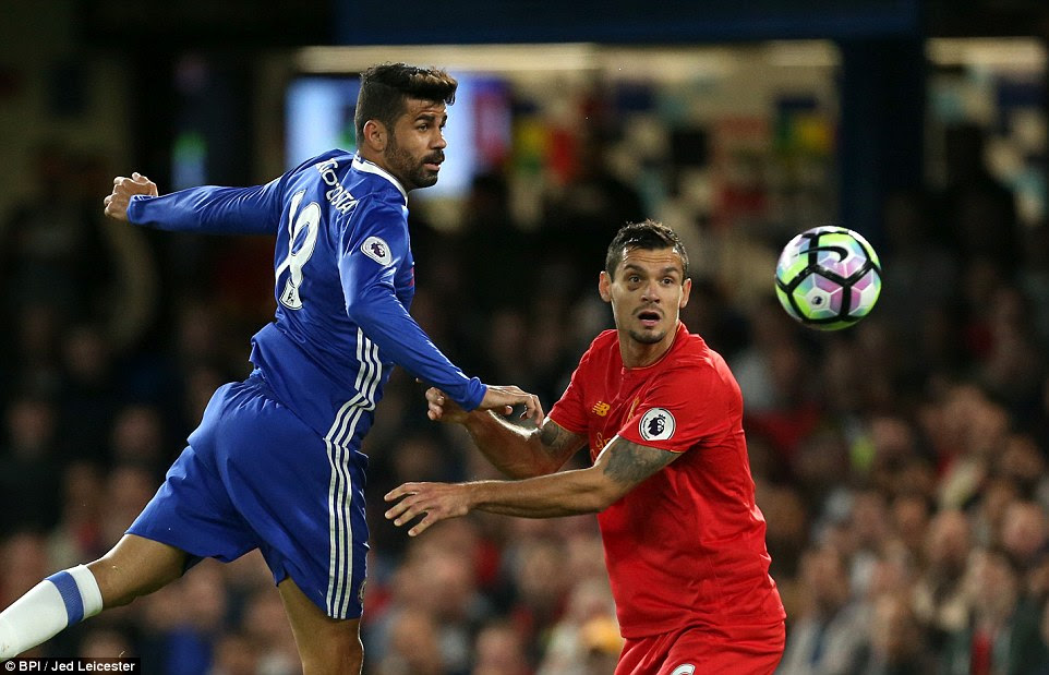 Chelsea firebrand Costa was starved of service during the first half as Lovren marshalled Liverpool's defence