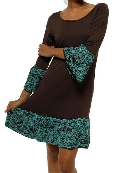 casual  knee mini brown  turquoise trimmed tunic