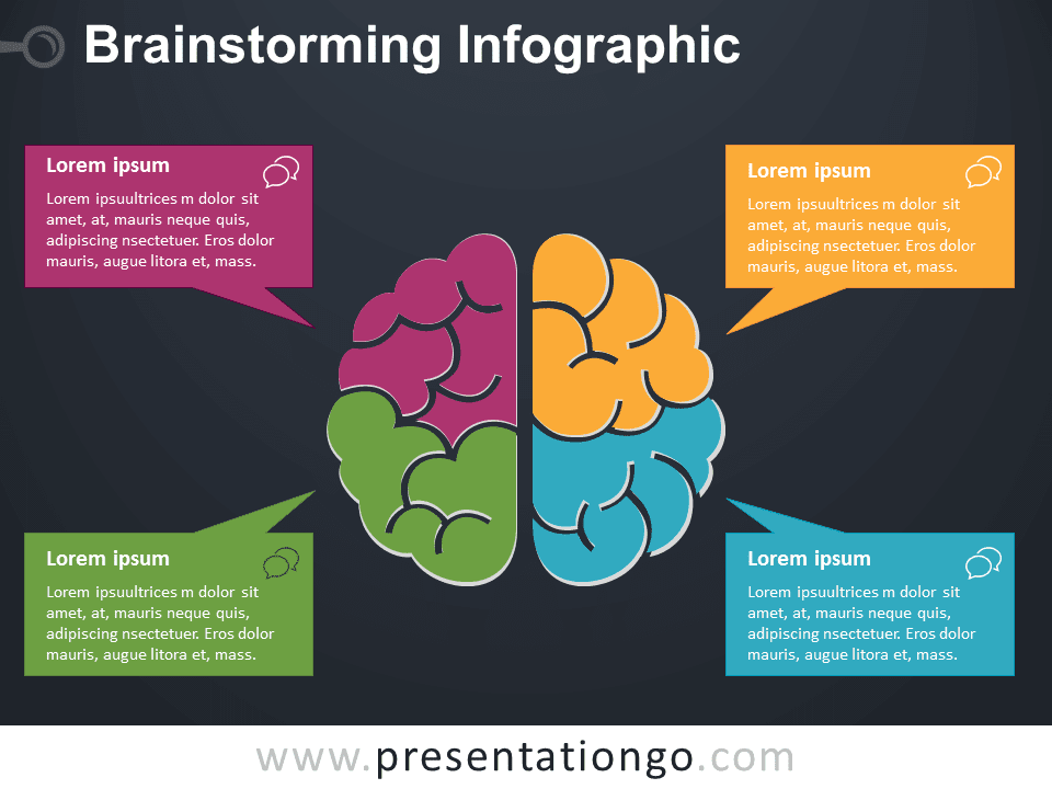 Brainstorming PowerPoint Template Colored Dark