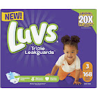 Luvs Triple Leakguards Diapers Size 3 168 Count, Multicolor