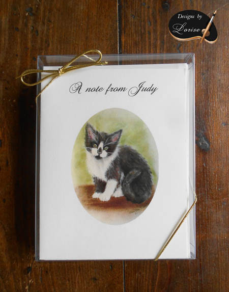 Personalized Grey and White Kitten Cat Art Greeting and Thank You Note Cards 8 ct. Box Set with envelopes