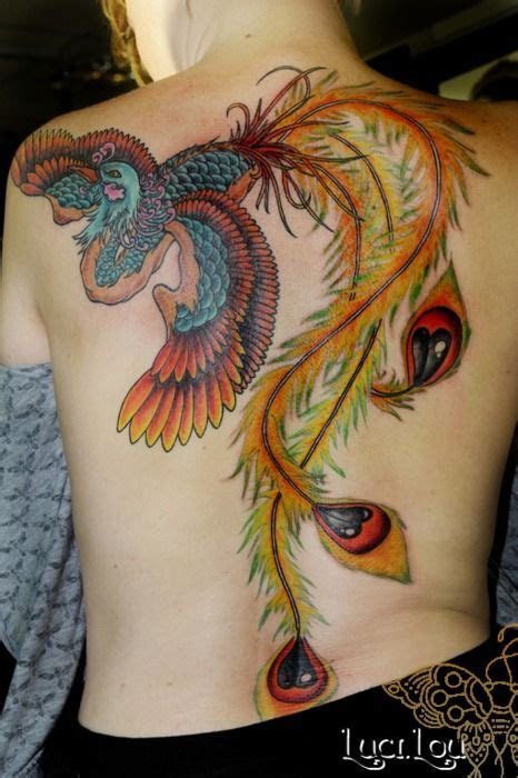 colorful full  phoenix tattoo  long feathers