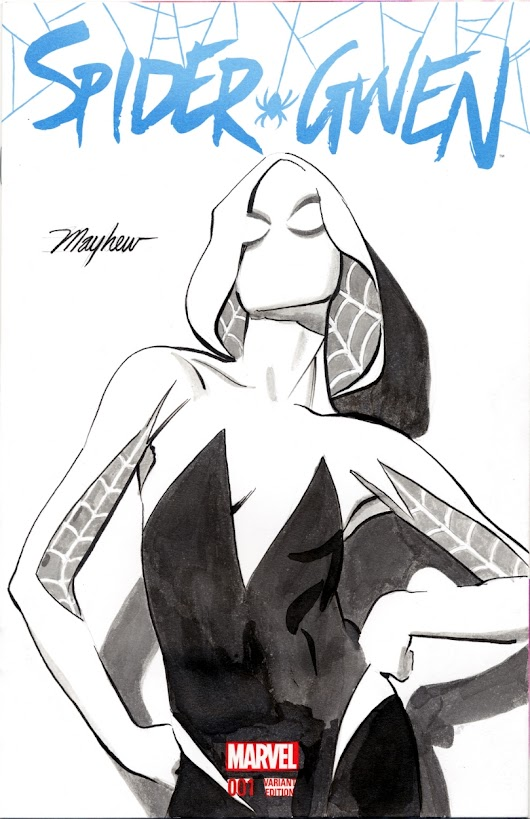 Mike Mayhew Original SPIDER-GWEN Sketch Cover Art, in Mike Mayhew's Sketch Covers Comic Art Gallery Room