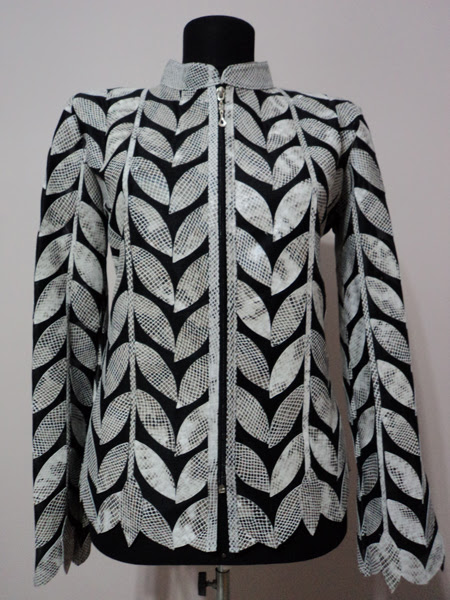 Plus Size White Snake Pattern Leather Leaf Jacket for Women [ Design 04 ] Genuine Short Zip Up Light Lightweight