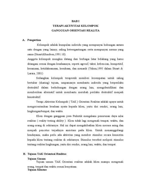 PROPOSAL (TAK) KEPERAWATAN JIWA ORIENTASI REALITAS
