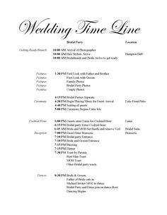 wedding reception timeline template gnfrcl stephanies