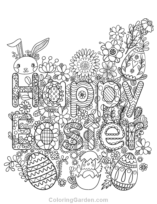 Happy Easter Adult Coloring Page