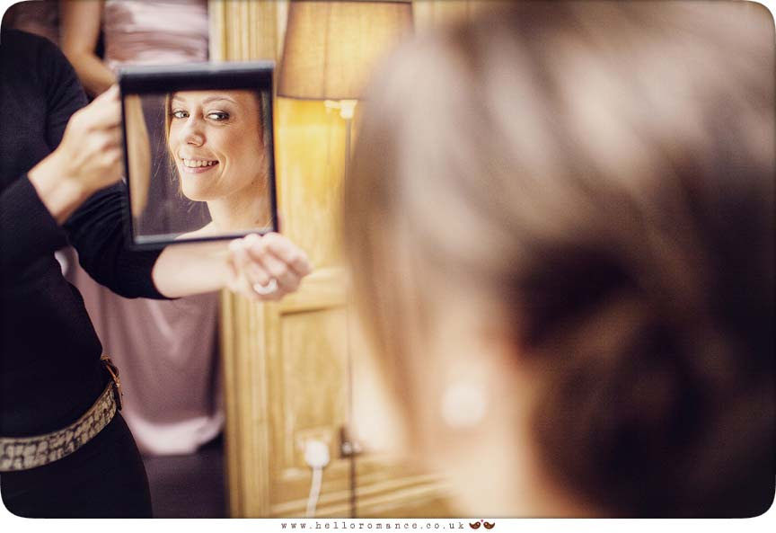 Bride's face in mirror - Yaxley Hall - Hello Romance Wedding Photography Suffolk