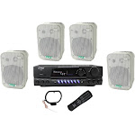 """4) Pyle 5.25"""" Outdoor Speakers + PT260A 200W Stereo Home Theater Receiver by VM Express"""