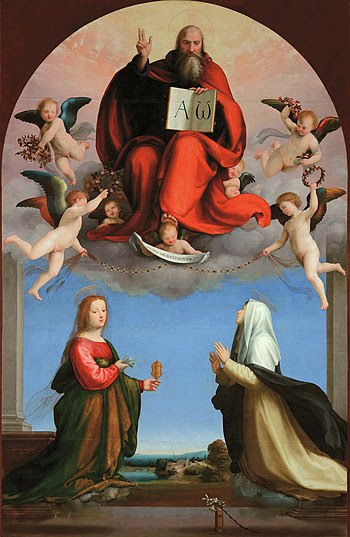 God the Father with Sts Catherine of Siena and...