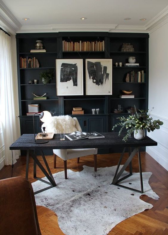 Trend Alert: Home Office Navy Built-ins + Real Study ...