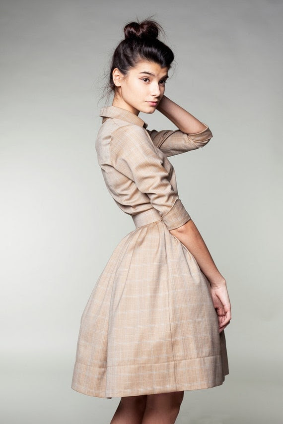 Beige Woolen Dress by Mrs Pomeranz