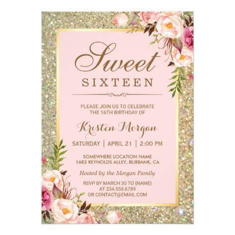 Sweet 16 Birthday   Pink Floral Gold Glitters Card   Zazzle