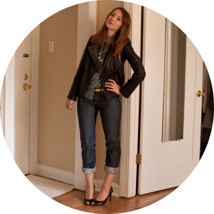 dash dot dotty, outfit blog, ideas, how to wear, leather jacket, black, denim, citizens of humanity, chambray, heels