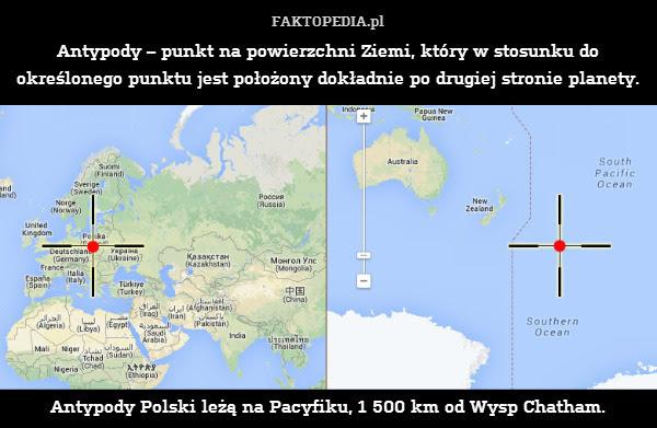 Antypody – punkt na powierzchni – Antypody – punkt na powierzchni Ziemi, który w stosunku do określonego punktu jest położony dokładnie po drugiej stronie planety.            Antypody Polski leżą na Pacyfiku, 1 500 km od Wysp Chatham.