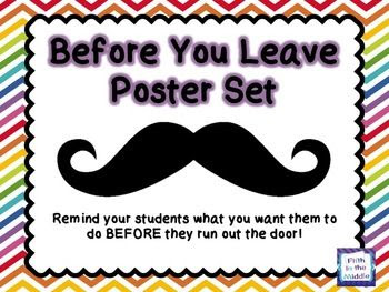 Before You Leave Mustache Poster Set - Rainbow Color Theme
