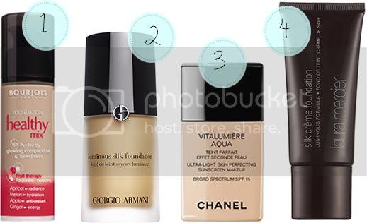Bourjois Health Mix, Giorgio Armani Luminous Silk, Chanel Vitalumiere Aqua and Laura Mercier Silk Creme Foundations