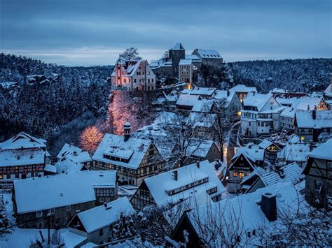 hohnstein city germany  winter snow full hd  wallpaper
