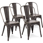 Best Choice Products Set Of 4 Industrial Distressed Metal Bistro Dining Side Chairs, Black