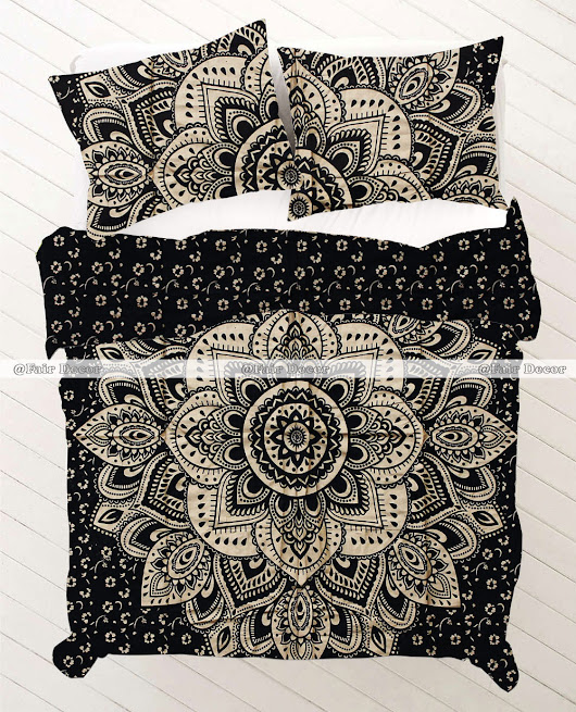 Twin Size Black Gold Floral Boho Mandala Bedding Set With Matching Pillowcases