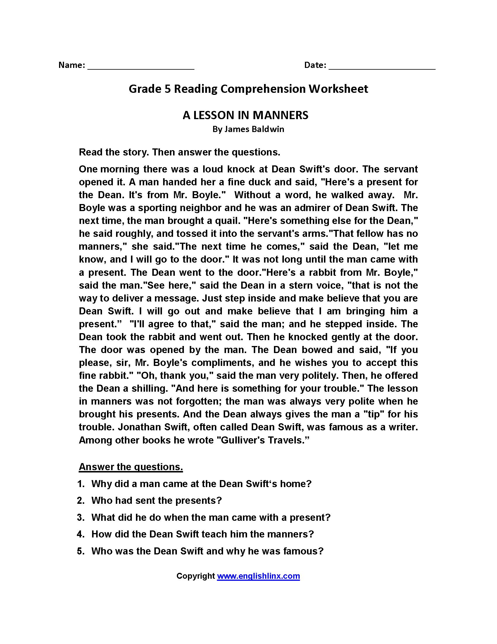 - 35 5 Ws Reading Comprehension Worksheet - Worksheet Resource Plans
