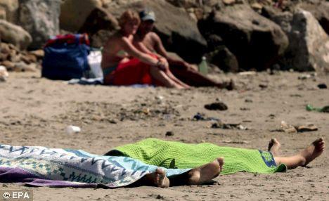Dead Romany gypsy girls Italy beach