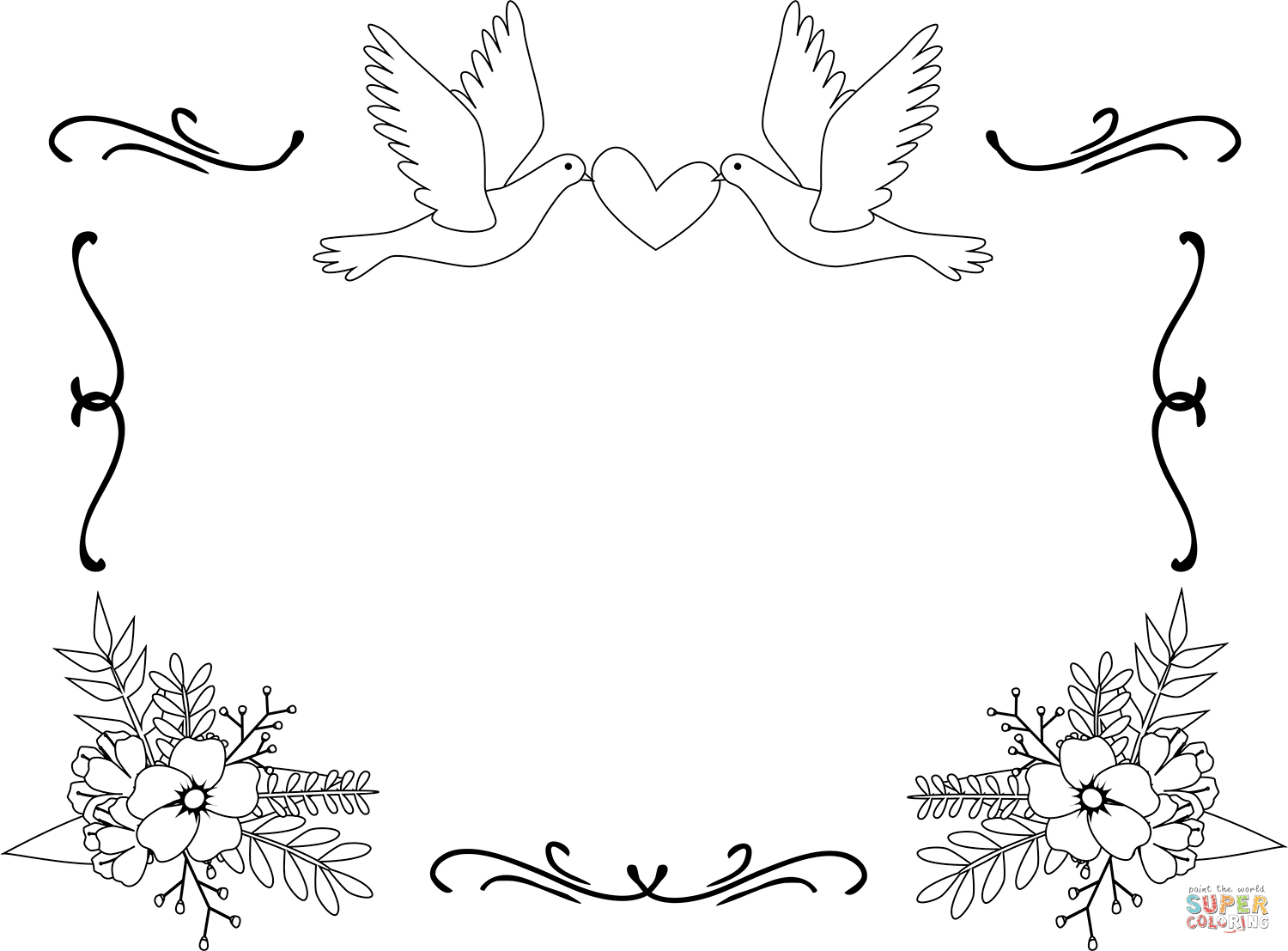 Wedding Border Coloring Page Free Printable Coloring Pages