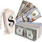 Pretend Dollar Bills Realistic Double Sided Money Stack That Looks Real Small Bills (5 x 2.5 inches) 50 of Each Amount
