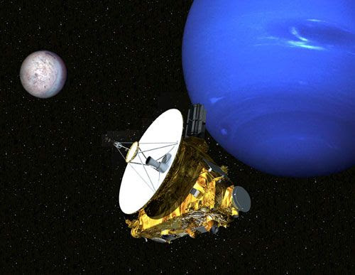 The Argo spacecraft flies past Neptune and its moon Triton, which may be a captured Kuiper Belt Object.