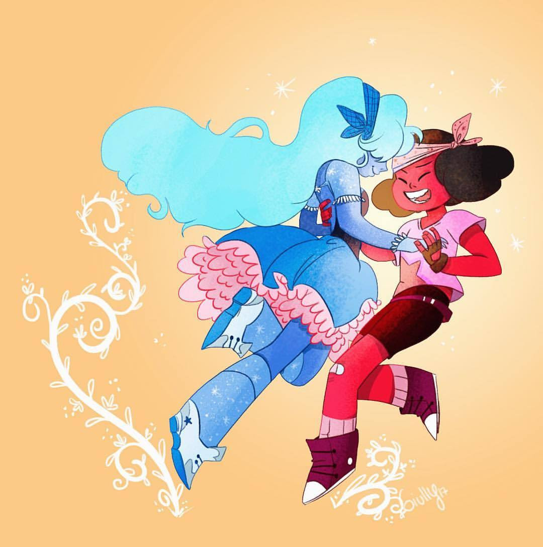 A friend request Ruby and Sapphire :) and now I finish with my su fanarts o/