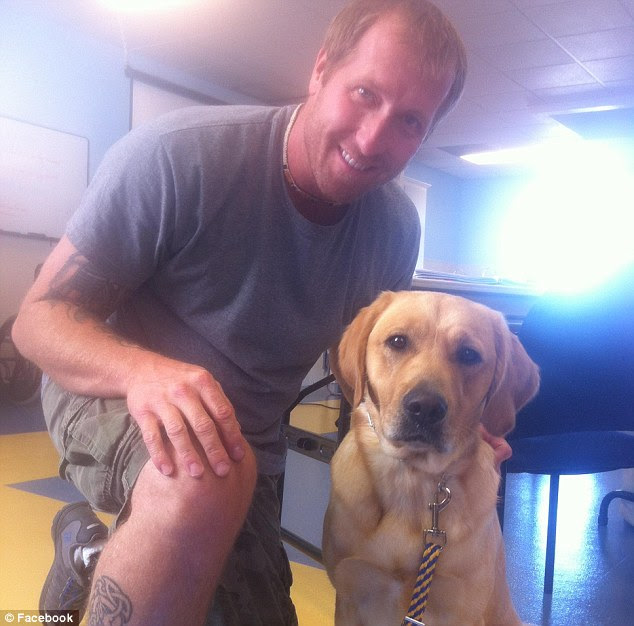 Standing up for justice: Disabled veteran Yancy Baer was confronted by a Starbucks employee about his service dog Beanz and forced to prove he had a disability in order to be allowed into the store