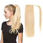 "22"" Human Hair Ponytail Wrap Around Clip In Ponytail Hair Extensions For Women Bleach Blonde(#613) 100g/3.5oz"