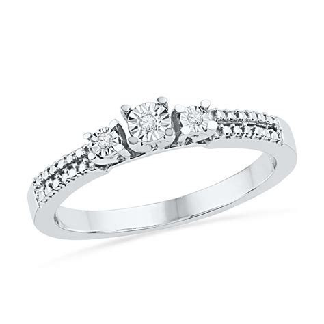 Three Stone Diamond Accent Engagement Ring in Sterling