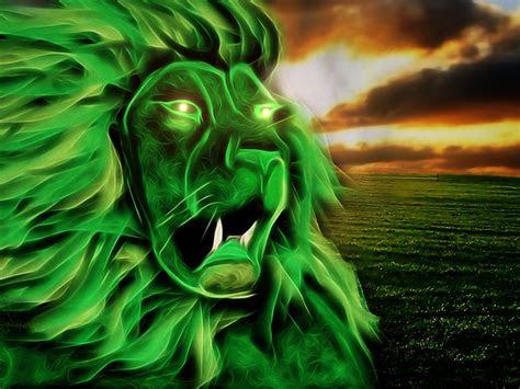 illustration lion mythical animal landscape