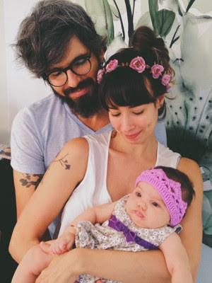 Flávia Rubim com marido e filha (Foto: Arquivo Pessoal)