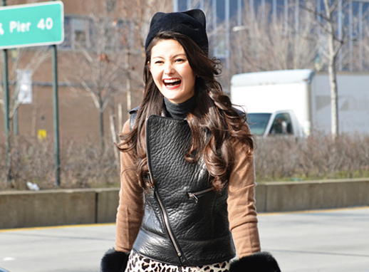 LE FASHION BLOG CAT EAR HATS STREET STYLE FASHION WEEK FASHION MONTH PEONY LIM BLOGGER SOCIALITE RED LIPS LEATHER VEST LEOPARD SKIRT FUR WRISTS BEAUTY HAIR TOMMY TON STYLE COM