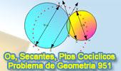 Problema de Geometría (ESL) 951: Circunferencias Secantes, Cuerda, Tangente, Diametro, Paralela, Puntos Cocíclicos