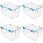 Sterilite 19344304 54 Quart Latched Gasket Plastic Storage Container (4 Pack) by VM Express