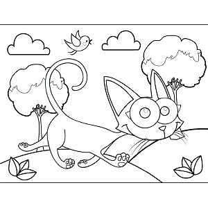 cat googly eyes coloring page