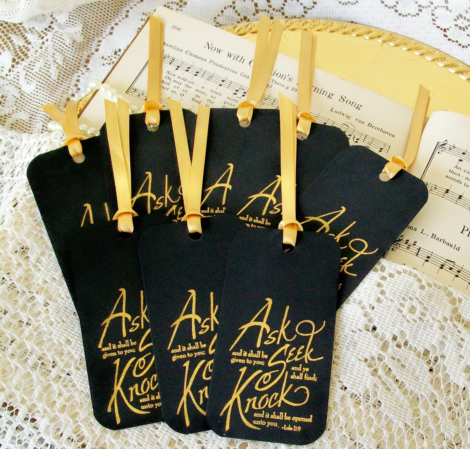 Gift Tags Ask Seek Knock Religious Hang Tags Mini Bookmarks