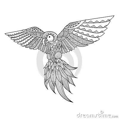 hand drawn zentangle parrot coloring book tattoo shirt design logo 61069733