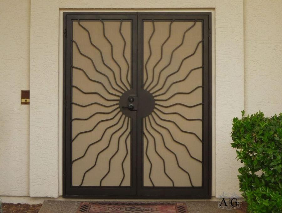 Amazing 73 Metal Iron Wooden Safety Door Designs With Grill